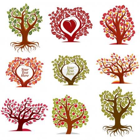 Red heart, art fruity trees