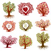 Vector stylized nature symbols with red heart art fruity trees collection Gardening idea design elements fruitfulness theme Empty copy space you are free to write your text here