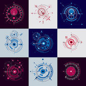 Set vector Bauhaus abstract backgrounds made with grid and overlapping simple geometric elements circles Retro artworks technology style graphic templates for advertising poster