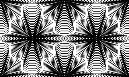 Illustration pour Motif géométrique monochrome rayé sans couture, fond abstrait vectoriel noir et blanc. Fond graphique symétrique . - image libre de droit