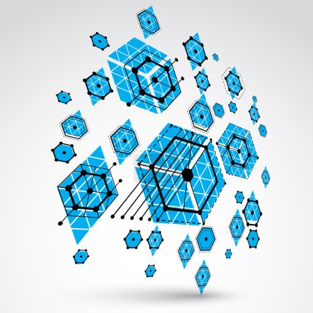 Illustration for Bauhaus art, 3d modular blue vector wallpaper made using hexagons and circles. Retro style pattern, perspective graphic backdrop for use as booklet cover template. Engineering system. - Royalty Free Image