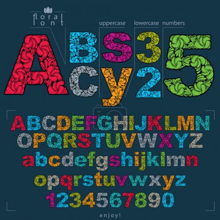 Set of ornate letters and numbers