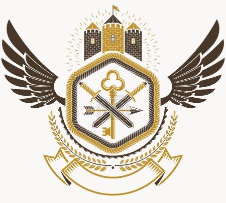 Vintage decorative emblem composition