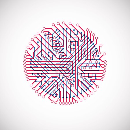 Illustration for Technology communication cybernetic element. Vector abstract illustration of circuit board in the shape of circle. - Royalty Free Image
