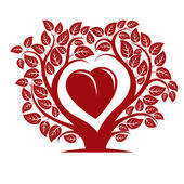 Tree with branches in shape of heart with apple