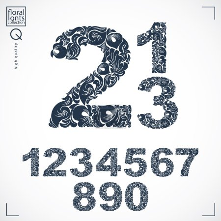 Illustration for Floral numerals, hand-drawn vector numbers decorated with botanical pattern. Monochrome ornamental numeration, digits made in vintage design. - Royalty Free Image