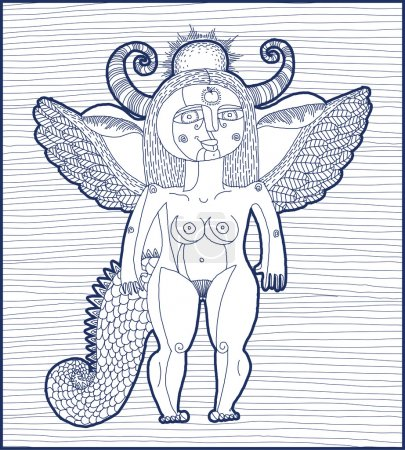 Mythic creature, nude woman with wings