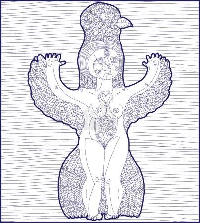 Bizarre creature, nude woman