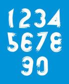 White vector stylish brush digits handwritten numerals sans serif numbers set on blue background