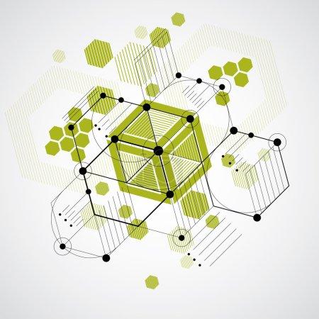 Illustration pour Bauhaus art, papier peint vectoriel modulaire décoratif réalisé à l'aide d'hexagones et de cercles rayés. Modèle de style rétro, fond graphique pour une utilisation comme modèle de couverture de livret. Illustration du système d'ingénierie . - image libre de droit
