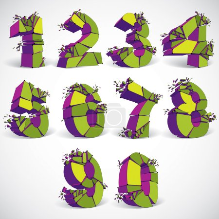 Set of 3d colorful wireframe numbers