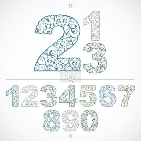 Floral vintage numbers