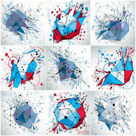 Photo pour Schéma technique abstraction. Ensemble de décors technologiques de perspective créés avec des objets filaires. Fond numérique vectoriel réalisé avec des éléments et des cercles géométriques à faible poly design . - image libre de droit