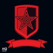 Vector shield with a red pentagonal Soviet star protection heraldic blazon Military armed conceptual symbol Ussr design element