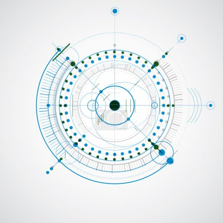 Illustration for Technical drawing made using dashed lines and geometric circles. Colorful vector wallpaper created in communications technology style, engine design. - Royalty Free Image