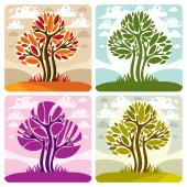 Art illustration of trees growing on beautiful meadow stylized eco landscape with clouds Vector botany element on season idea spring time idyllic picture