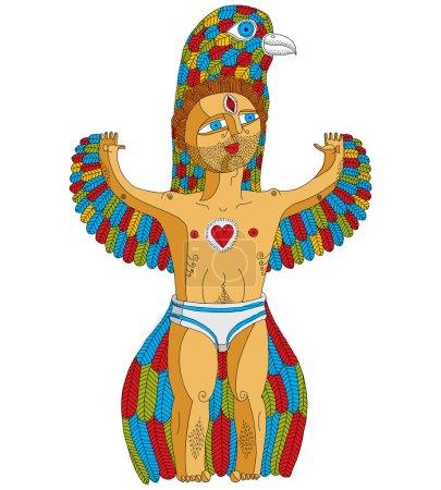 Weird creature, cartoon nude man