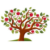 Tree with ripe apples harvest season theme illustration Fruitfulness and fertility idea symbolic image