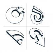 Three-dimensional monochrome graphic elements