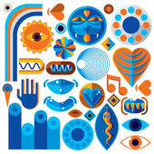 Set of vector abstract art symbols different modern style graphic elements collection like odd creatures and monsters heart shapes musical notes and hand gestures
