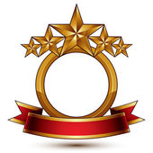 Majestic vector golden ring isolated on white background 3d polished five golden stars Heraldic branded symbol with festive red ribbon Dimensional glossy decorative stars elegant shaped blazon Eps8