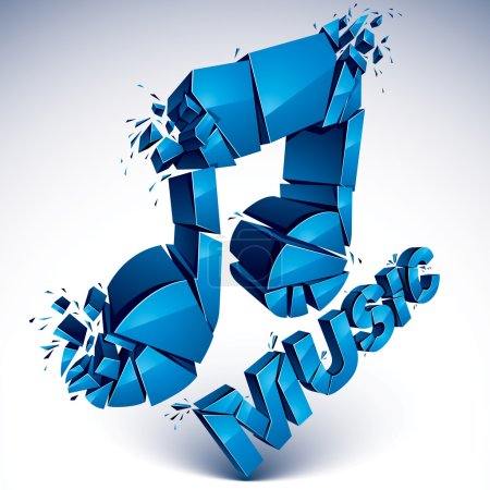 3d blue shattered musical notes