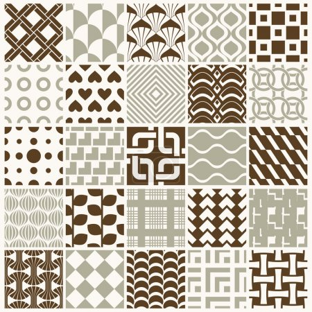 Illustration for Vector ornamental seamless backdrops set, geometric patterns collection. Ornate textures made in modern simple style. - Royalty Free Image