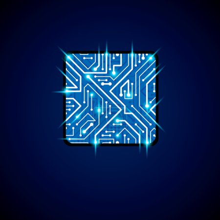 Illustration for Vector technology cpu design with square blue neon luminescent microprocessor scheme. Computer circuit board, digital element with flash effect. - Royalty Free Image