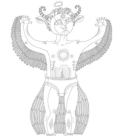 Bizarre creature, cartoon nude man