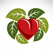 Beautiful red heart surrounded with green spring leaves Care about nature idea ecology conservation theme vector graphic symbol