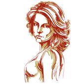 Hand-drawn beautiful confident woman