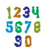 Handwritten colorful freak numbers