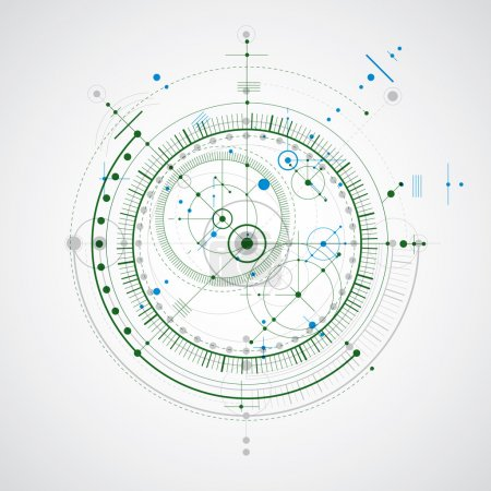 Illustration for Vector engineering technological background, futuristic technical plan, mechanism. Mechanical scheme, abstract industrial design can be used as website background. - Royalty Free Image