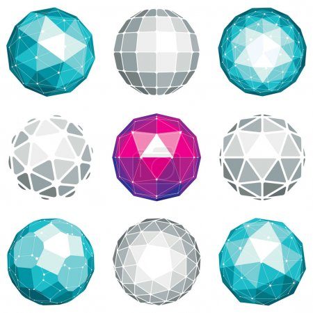 abstract geometric futuristic globes set