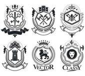 retro coat of arms emblems set