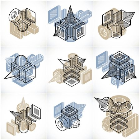 abstract geometric shapes set.