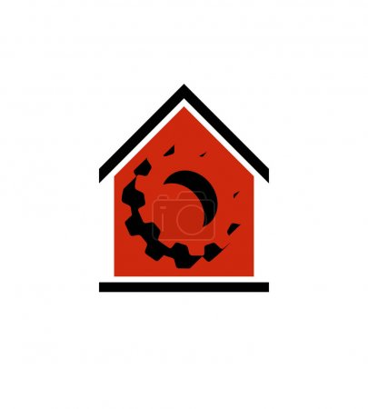 Illustration for Manufacture conceptual symbol, vector house with 3d cog wheel. Industry and production theme element - Royalty Free Image