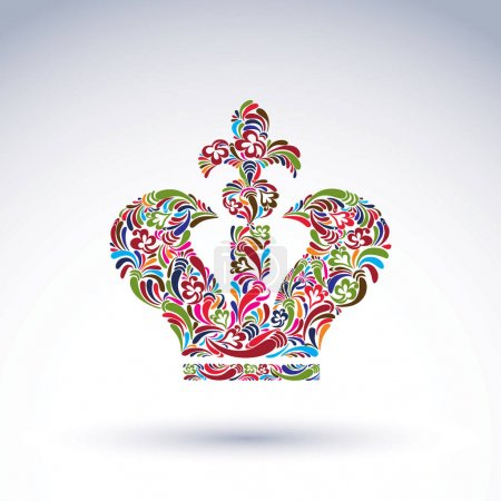 Illustration pour Elegant flower-patterned bright crown with Christianity cross, emperor accessory. - image libre de droit