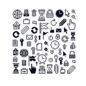set of pixel web icons