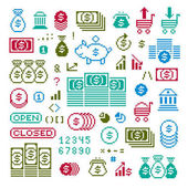 business and finance pixel icons set