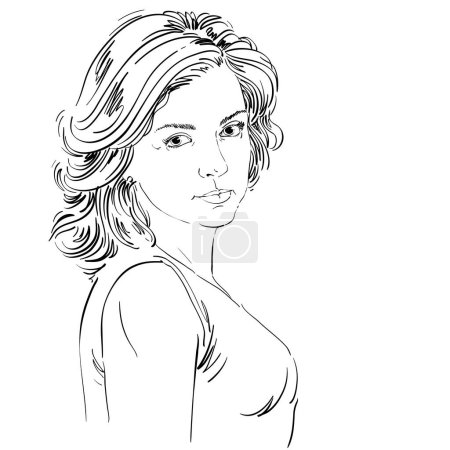 sketch portrait of beautiful confident woman