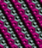Colorful abstract textured geometric seamless pattern Vector bright textile backdrop with three-dimensional cubes and squares