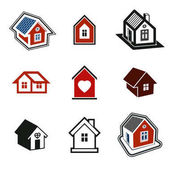 Abstract simple country houses vector illustration homes  logo set