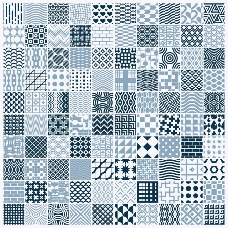 Illustration for Vector graphic vintage textures created with squares, rhombuses and other geometric shapes. Monochrome seamless patterns - Royalty Free Image