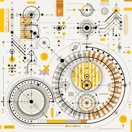 Illustration for Technical drawing with dashed lines and geometric shapes, vector futuristic technology wallpaper, engineering draft. - Royalty Free Image