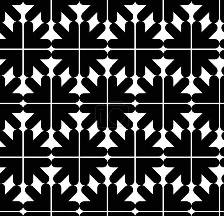 Illustration for Seamless pattern of geometric stripes, black and white infinite geometric textile, abstract vector textured visual covering. Monochrome inspired seamless geometric background with arrowheads. - Royalty Free Image