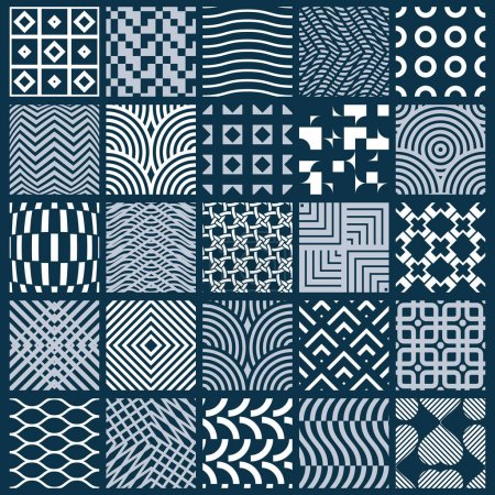 Illustration for Set of graphic ornamental tiles, set of vector repeated patterns. vintage art abstract textures can be used as wallpapers. - Royalty Free Image