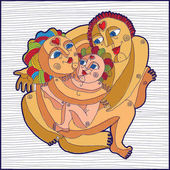 Graphic art icon of family  Mother father and child happy together relationship and love theme