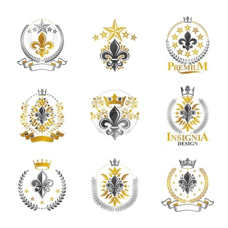 Set of heraldic emblems with royal crowns
