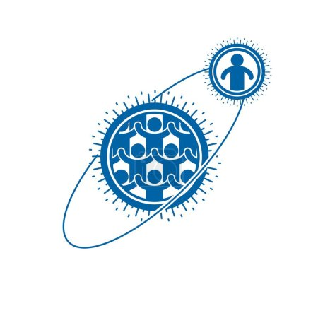 Society and Person interaction creative logo